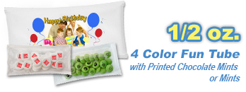1/2 oz. 4 Color Fun Tube with Chocolate Mints or Mints